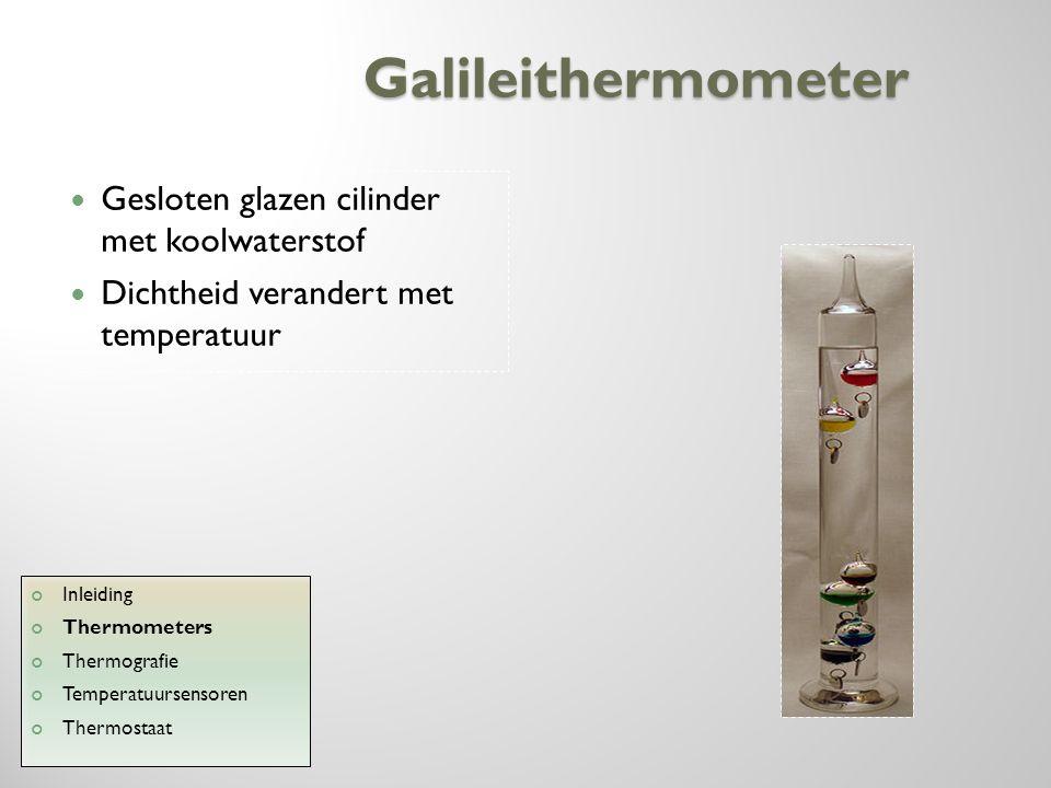 Galileithermometer Gesloten glazen cilinder met koolwaterstof