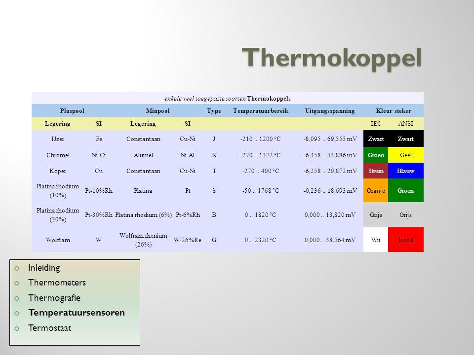 enkele veel toegepaste soorten Thermokoppels