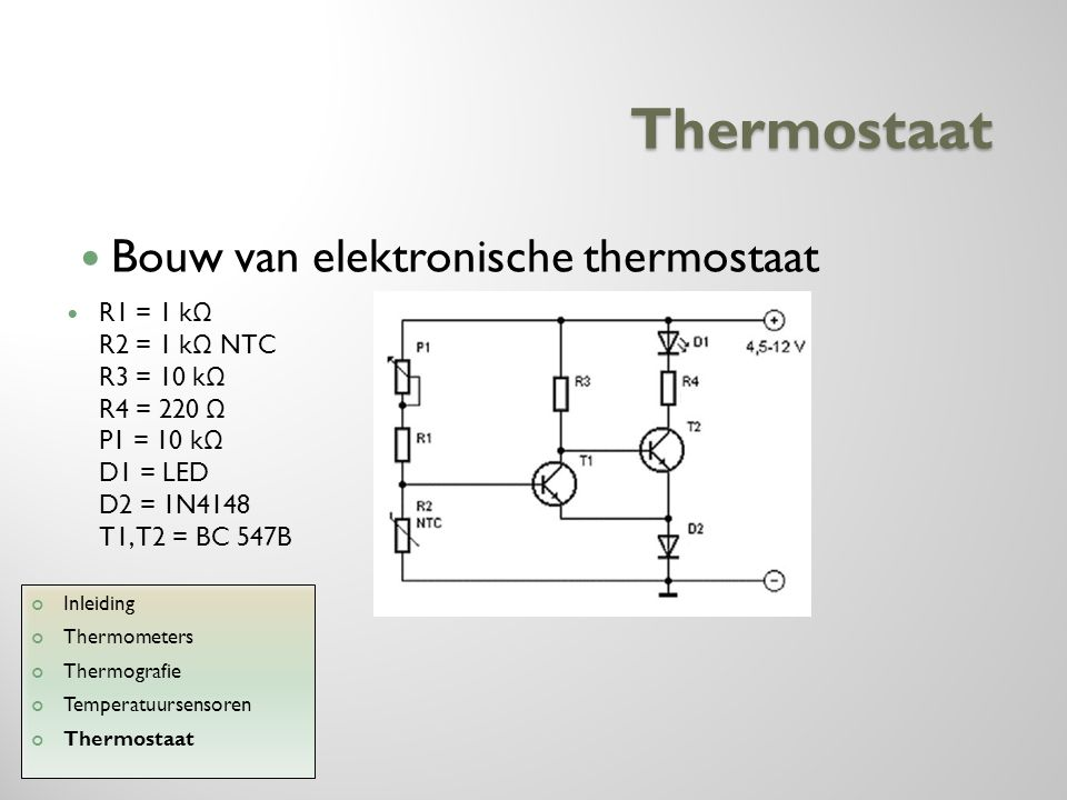Thermostaat Bouw van elektronische thermostaat