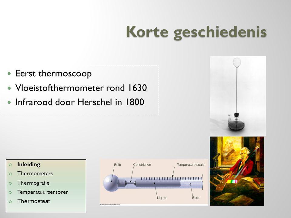 Korte geschiedenis Eerst thermoscoop Vloeistofthermometer rond 1630