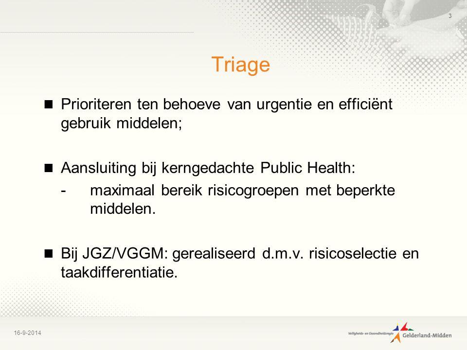 Triage Prioriteren ten behoeve van urgentie en efficiënt gebruik middelen; Aansluiting bij kerngedachte Public Health: