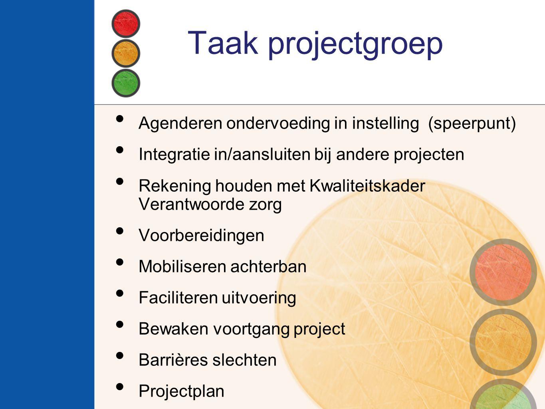 Taak projectgroep Agenderen ondervoeding in instelling (speerpunt)