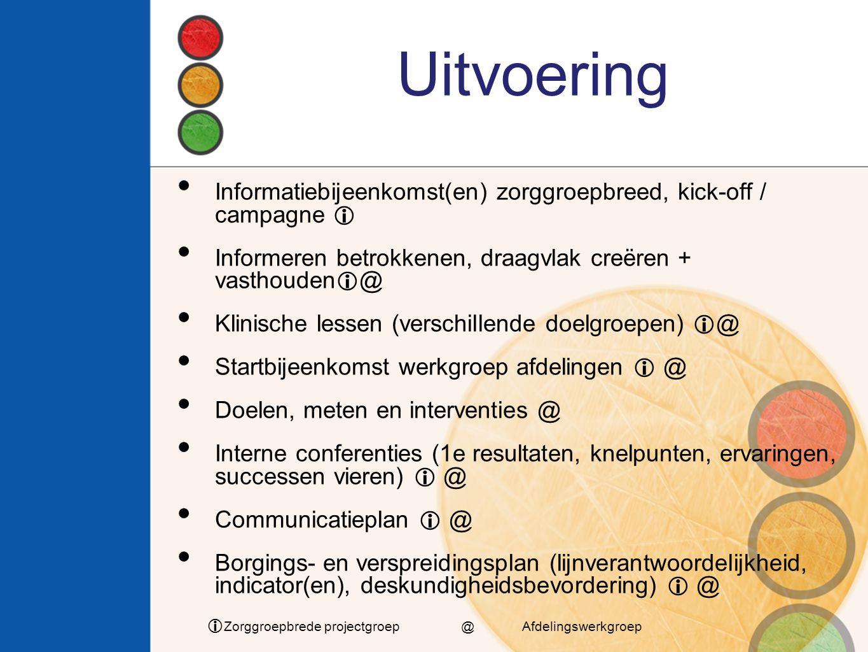 Uitvoering Informatiebijeenkomst(en) zorggroepbreed, kick-off / campagne  Informeren betrokkenen, draagvlak creëren + vasthouden@