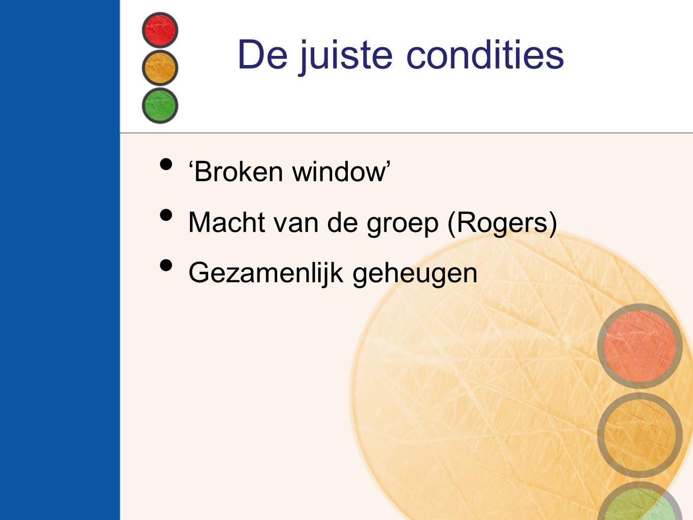 De juiste condities 'Broken window' Macht van de groep (Rogers)