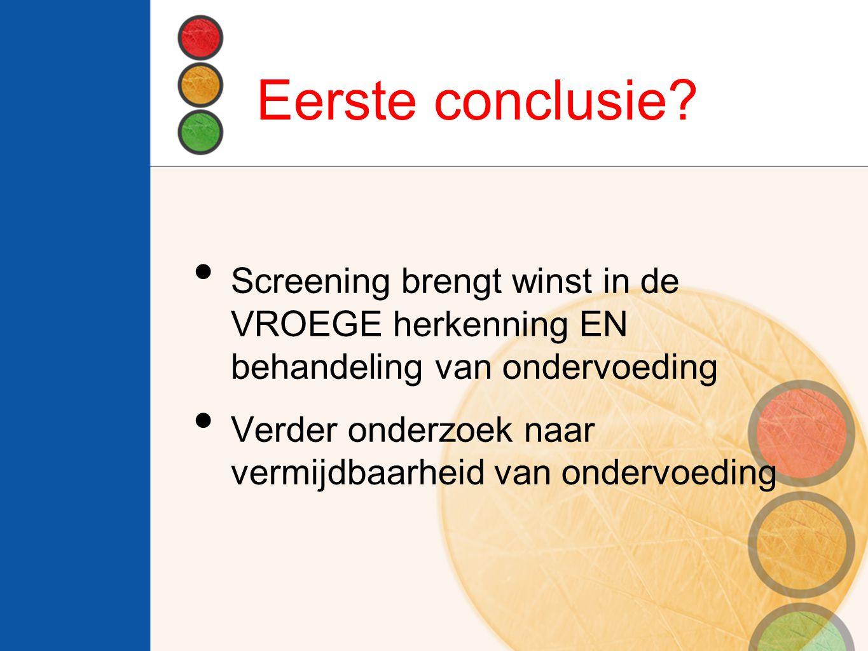 Eerste conclusie Screening brengt winst in de VROEGE herkenning EN behandeling van ondervoeding.