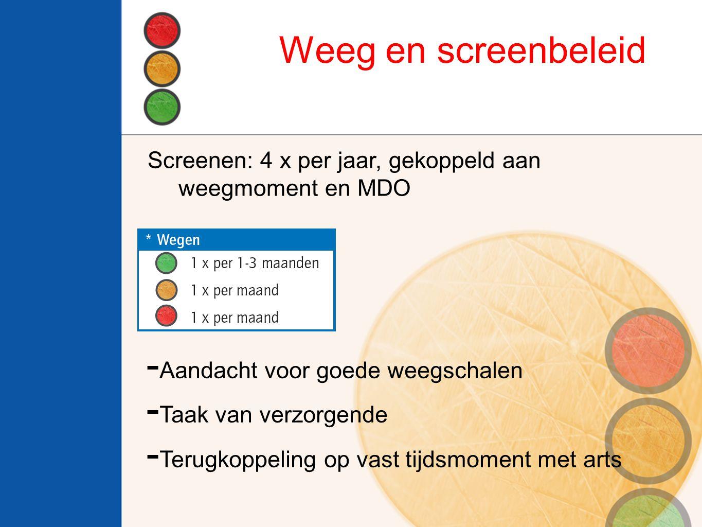 Weeg en screenbeleid Screenen: 4 x per jaar, gekoppeld aan weegmoment en MDO. Aandacht voor goede weegschalen.