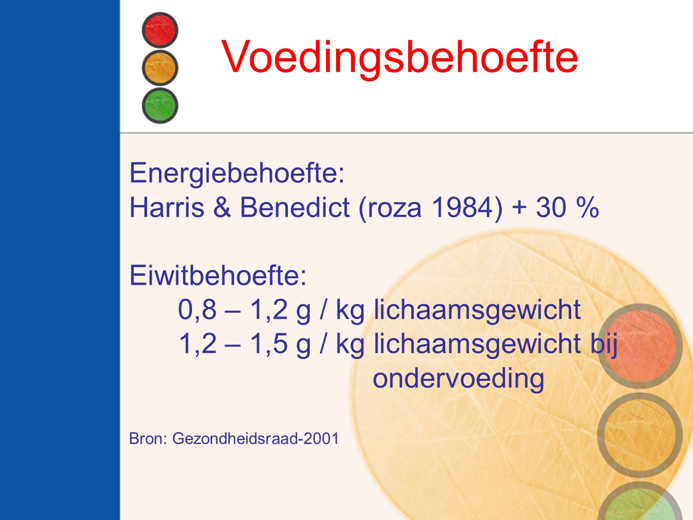 Voedingsbehoefte Energiebehoefte: Harris & Benedict (roza 1984) + 30 %