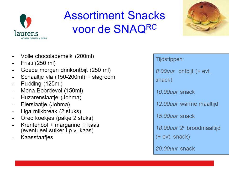 Assortiment Snacks voor de SNAQRC