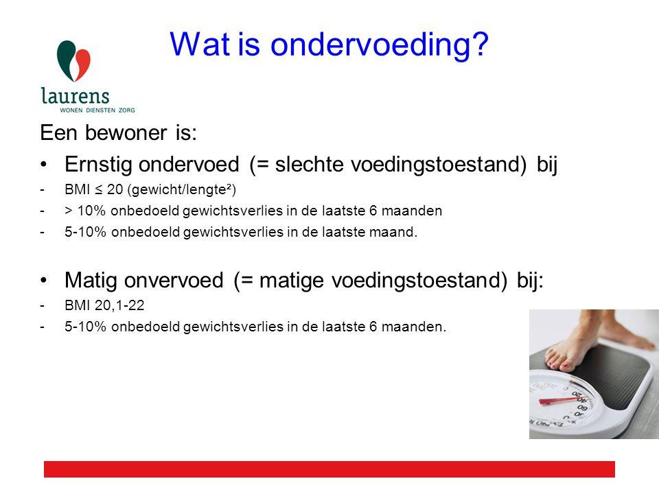 Wat is ondervoeding Een bewoner is: