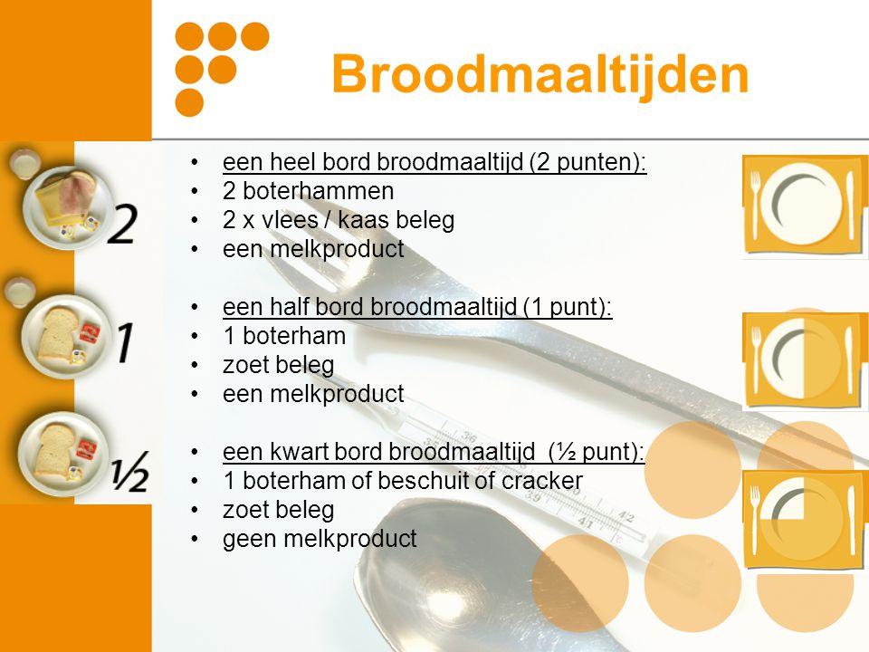 Broodmaaltijden een heel bord broodmaaltijd (2 punten): 2 boterhammen