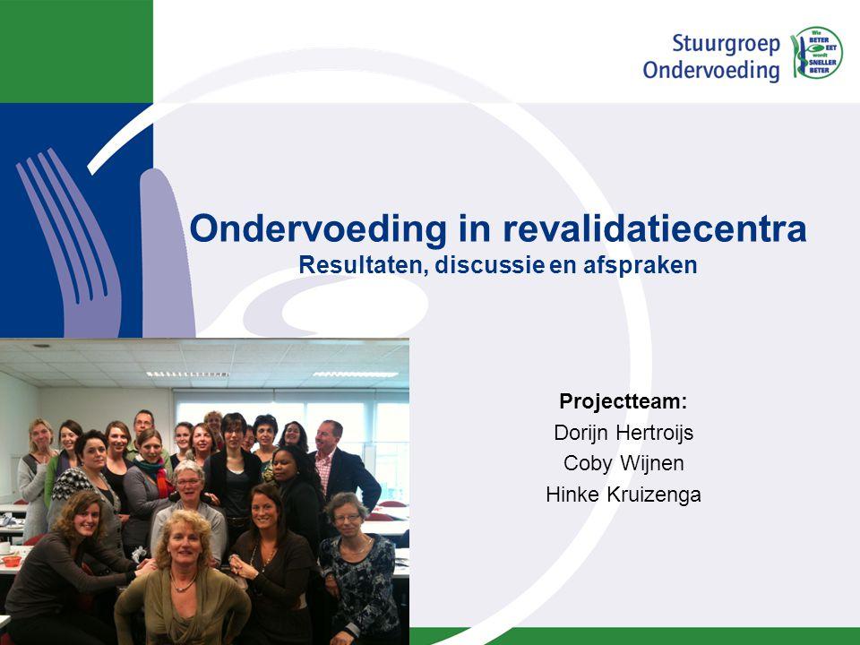 Aanleiding onderzoek Ondervoeding sinds 2010 prestatie indicator (PI) voor revalidatiecentra. Advies in PI: gebruik de SNAQ om te screenen.