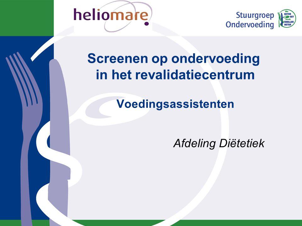 Inhoud Ondervoeding. SNAQ65+ screeningsinstrument. Werkinstructie voedingsassistenten. Formulieren.