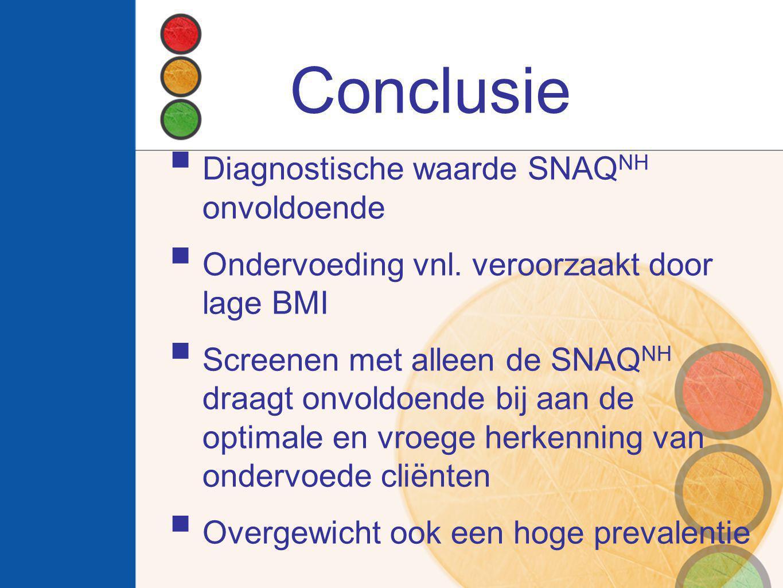 Conclusie Diagnostische waarde SNAQNH onvoldoende
