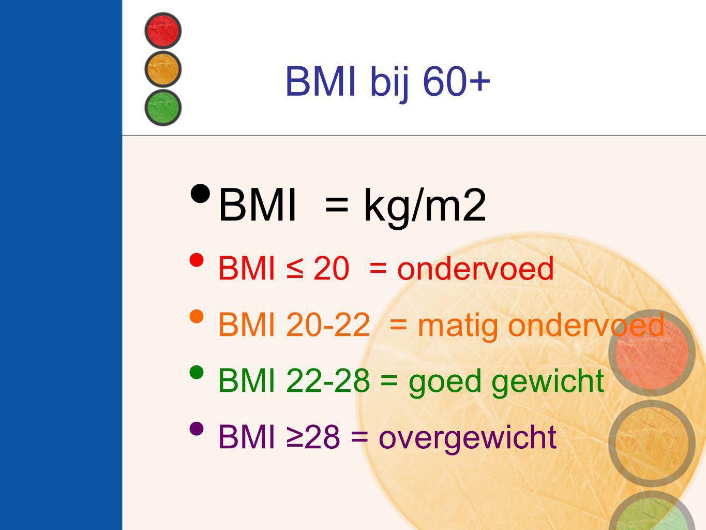 BMI = kg/m2 BMI bij 60+ BMI ≤ 20 = ondervoed