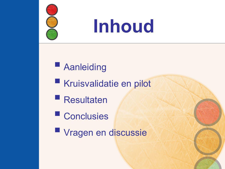 Inhoud Aanleiding Kruisvalidatie en pilot Resultaten Conclusies
