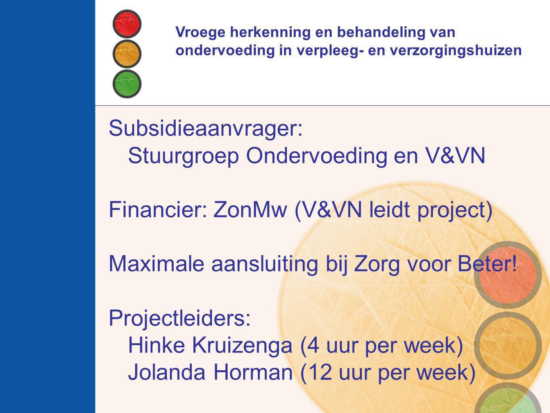 Stuurgroep Ondervoeding en V&VN Financier: ZonMw (V&VN leidt project)