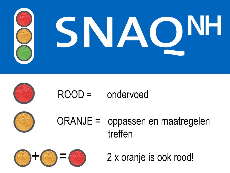 + = ROOD = ondervoed ORANJE = oppassen en maatregelen treffen