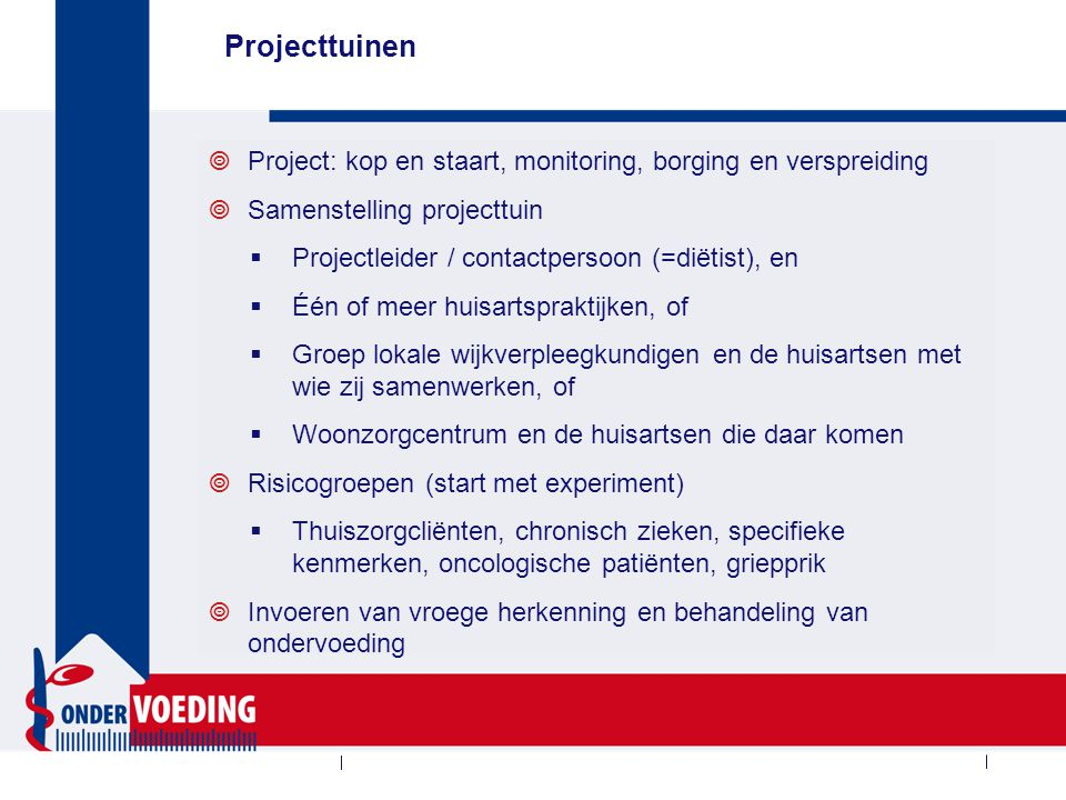 Aanbod project Stuurgroep Ondervoeding