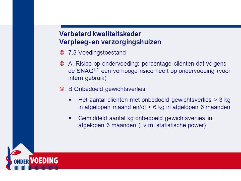 7.3 Registratievragen Wel of niet systematisch onderzoek naar voedingstoestand in zorgdossier Is cliënt terminaal
