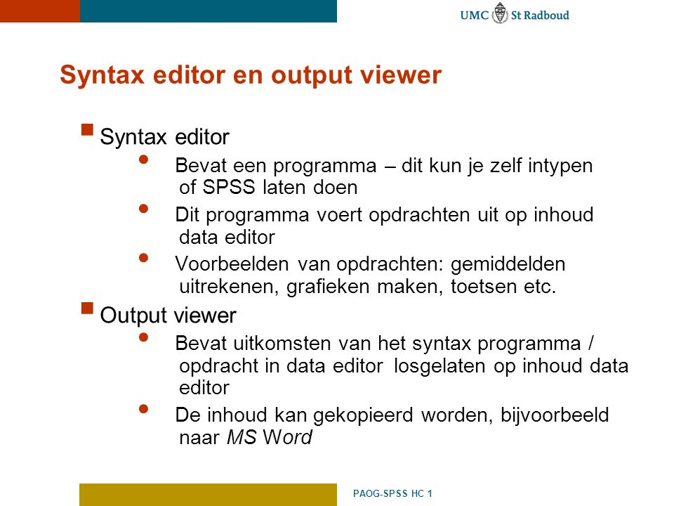 Syntax editor en output viewer