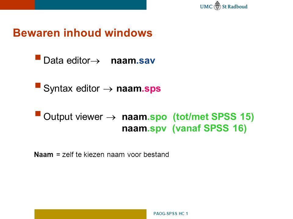 Bewaren inhoud windows