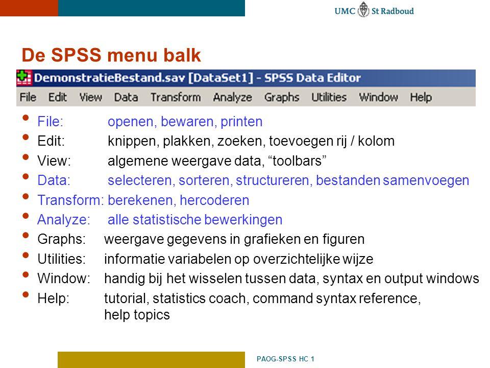 De SPSS menu balk File: openen, bewaren, printen