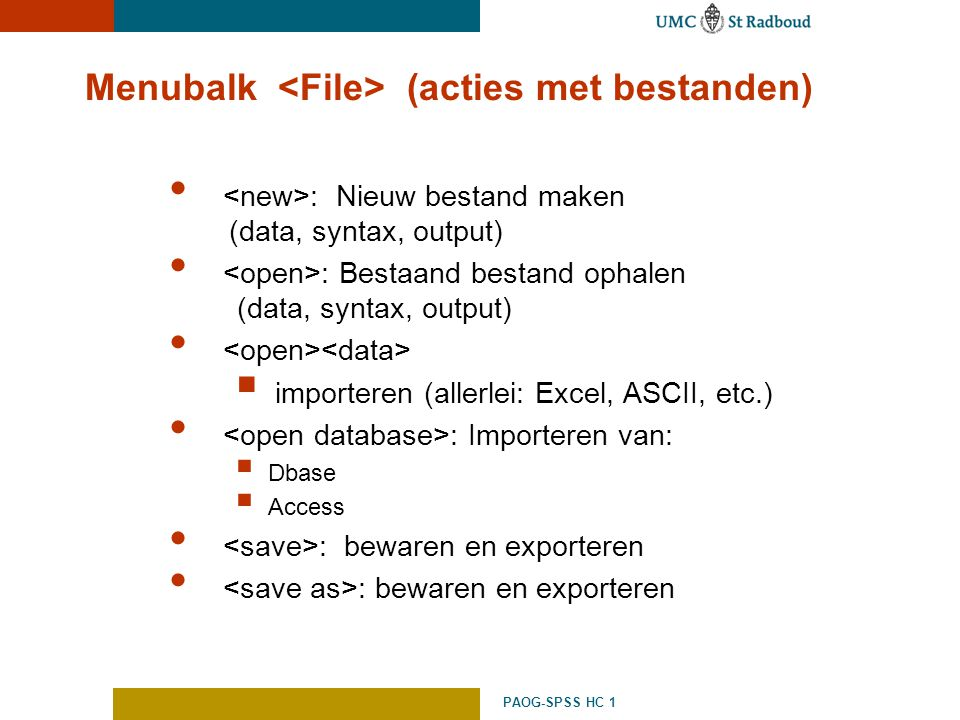 Menubalk <File> (acties met bestanden)