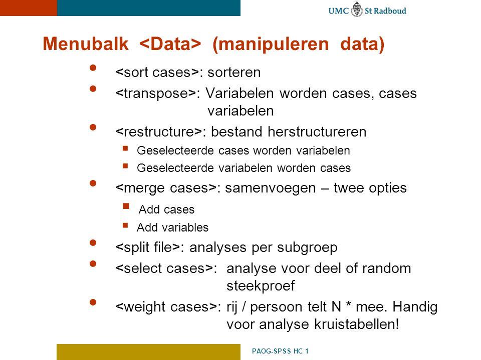Menubalk <Data> (manipuleren data)