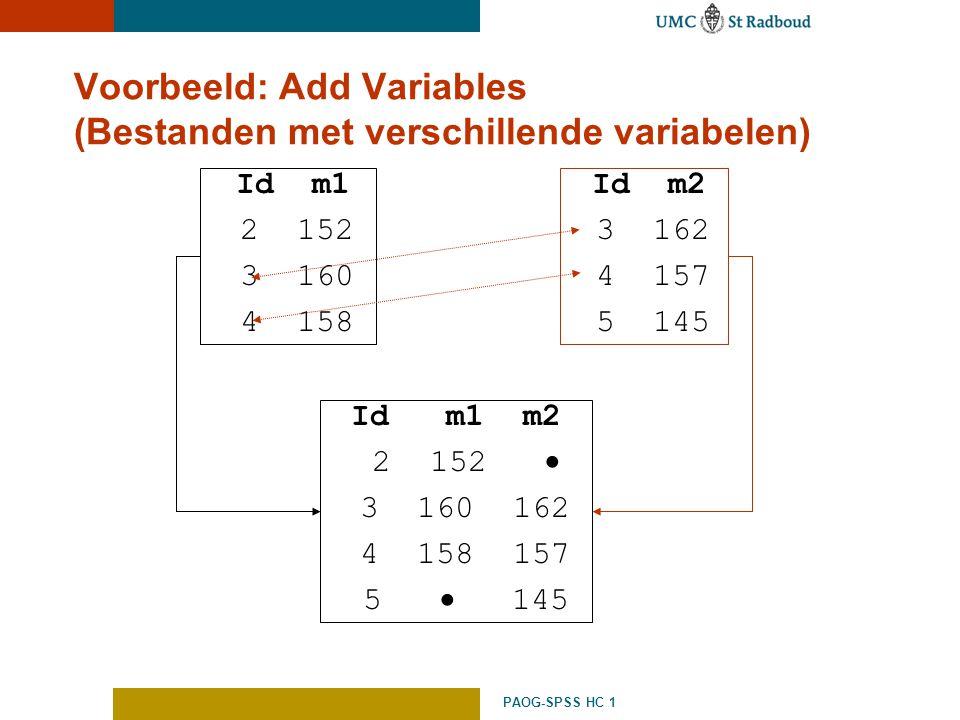 Voorbeeld: Add Variables (Bestanden met verschillende variabelen)