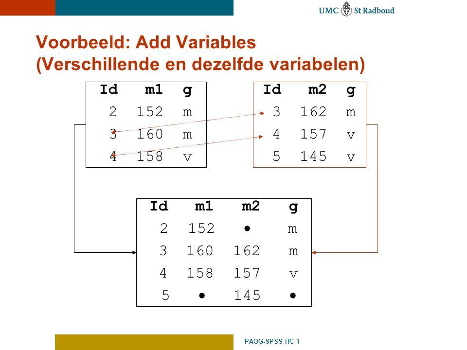Voorbeeld: Add Variables (Verschillende en dezelfde variabelen)