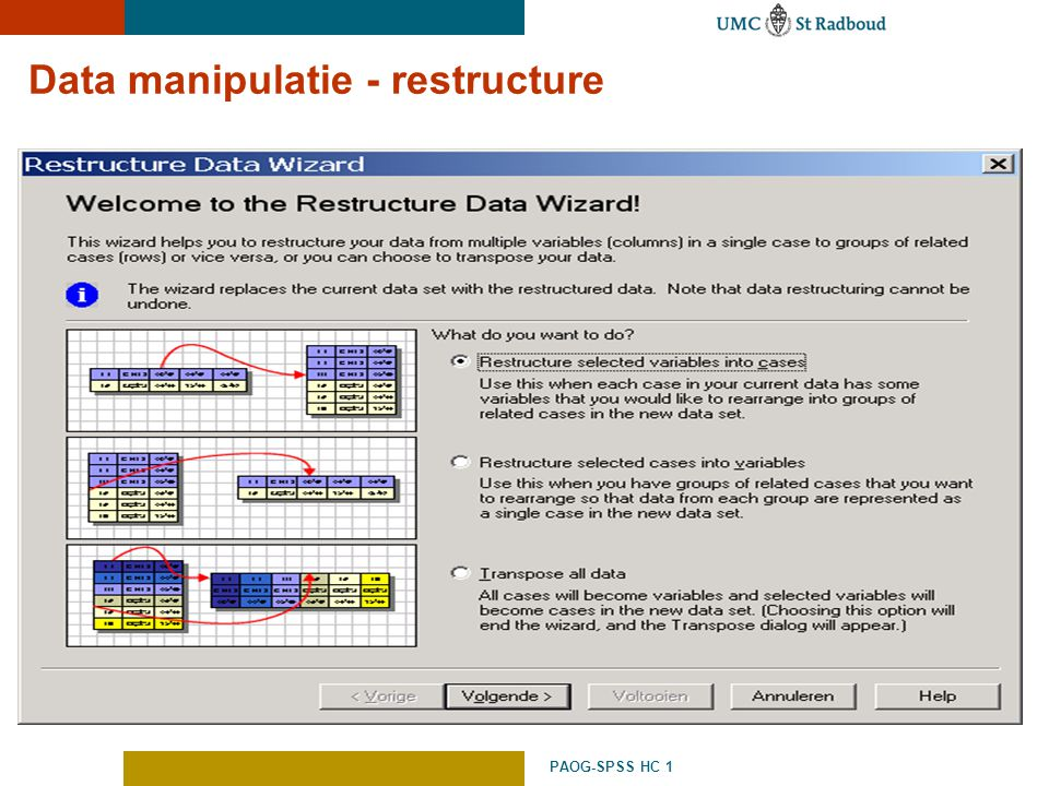 Data manipulatie - restructure