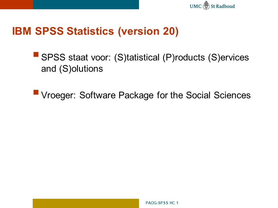 IBM SPSS Statistics (version 20)
