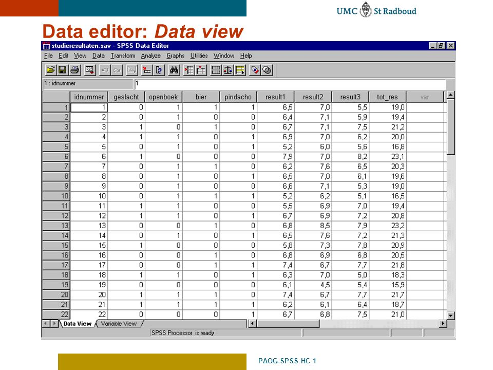 Data editor: Data view PAOG-SPSS HC 1
