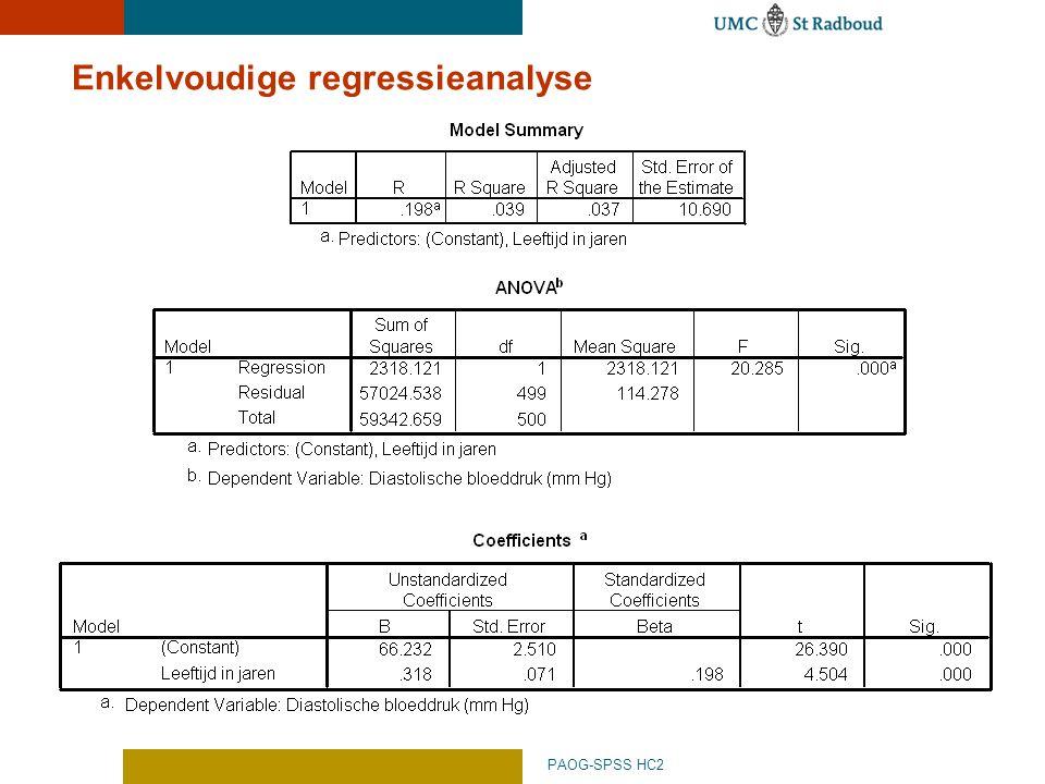 Enkelvoudige regressieanalyse