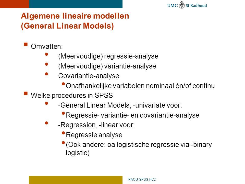 Algemene lineaire modellen (General Linear Models)