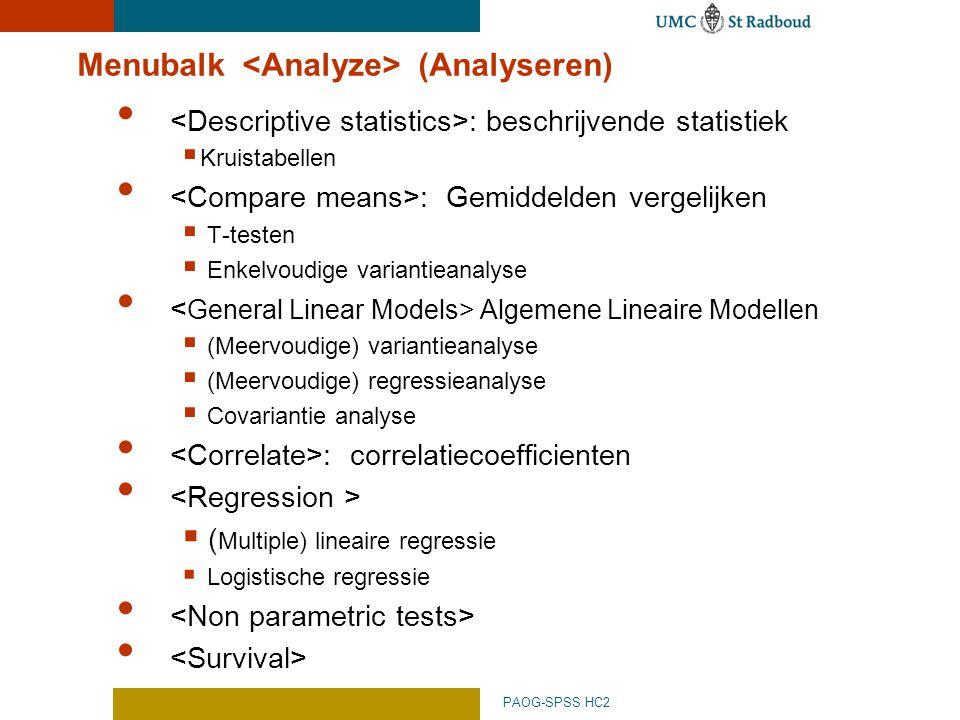 Menubalk <Analyze> (Analyseren)