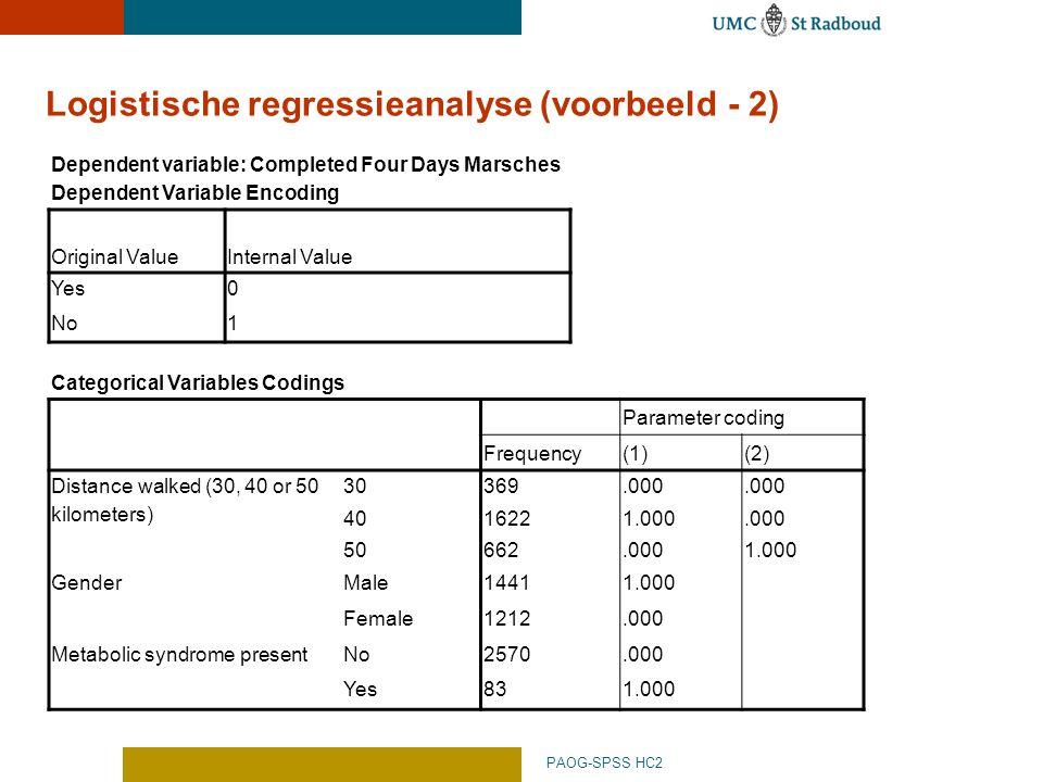 Logistische regressieanalyse (voorbeeld - 2)