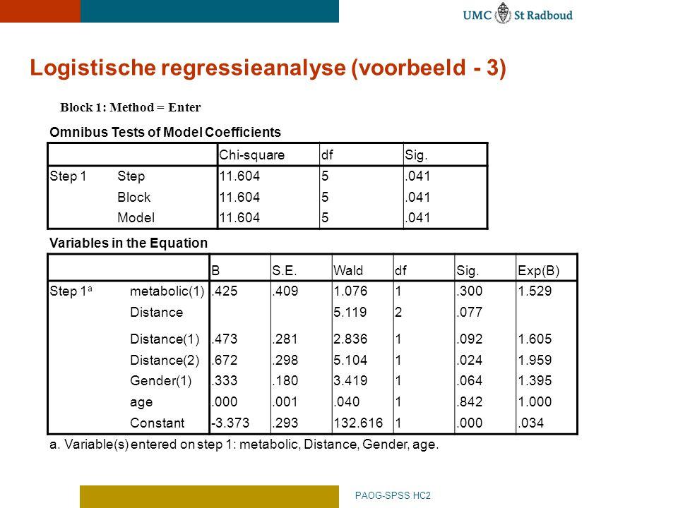 Logistische regressieanalyse (voorbeeld - 3)