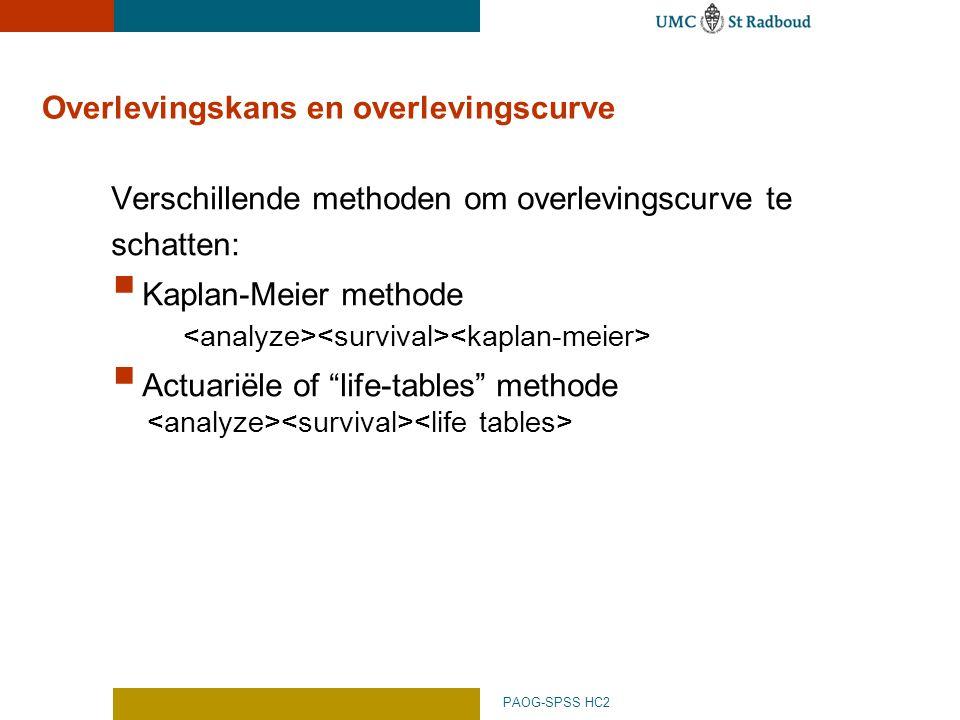 Overlevingskans en overlevingscurve
