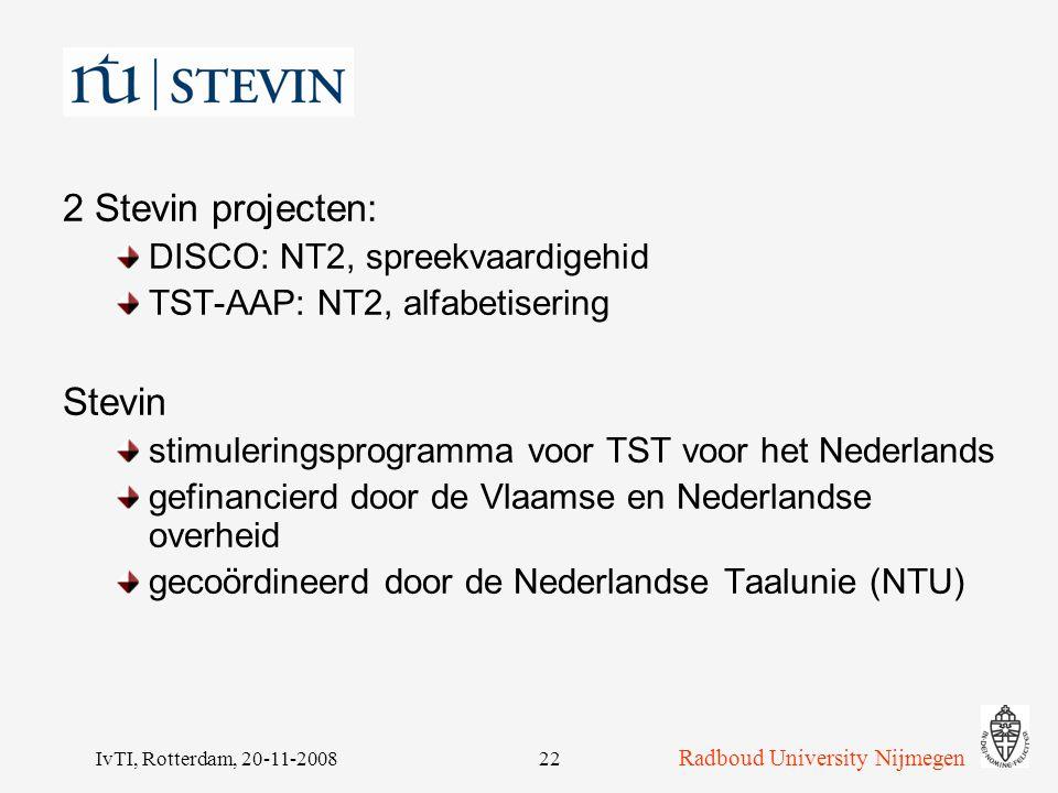 2 Stevin projecten: Stevin DISCO: NT2, spreekvaardigehid