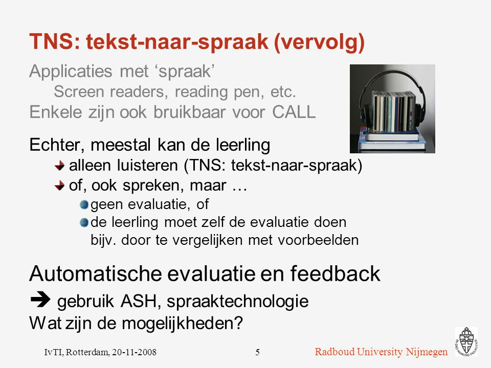 TNS: tekst-naar-spraak (vervolg)