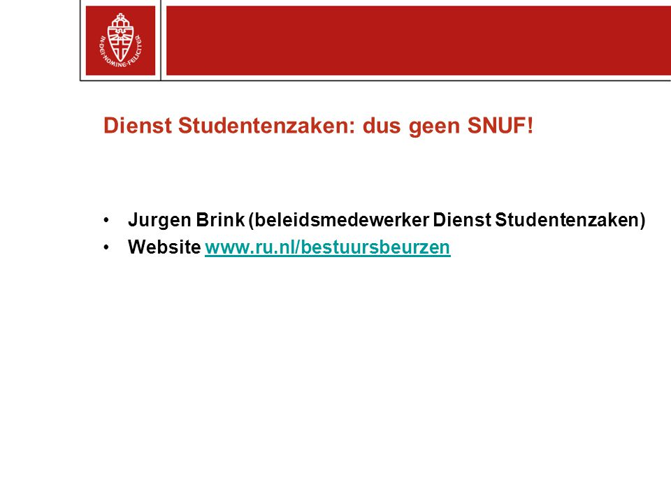 Dienst Studentenzaken: dus geen SNUF!