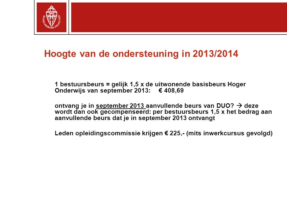 Hoogte van de ondersteuning in 2013/2014