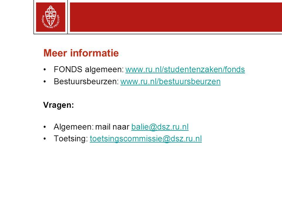 Meer informatie FONDS algemeen: www.ru.nl/studentenzaken/fonds