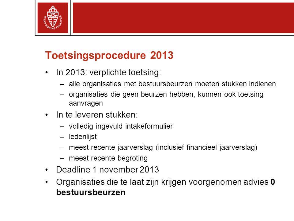 Toetsingsprocedure 2013 In 2013: verplichte toetsing: