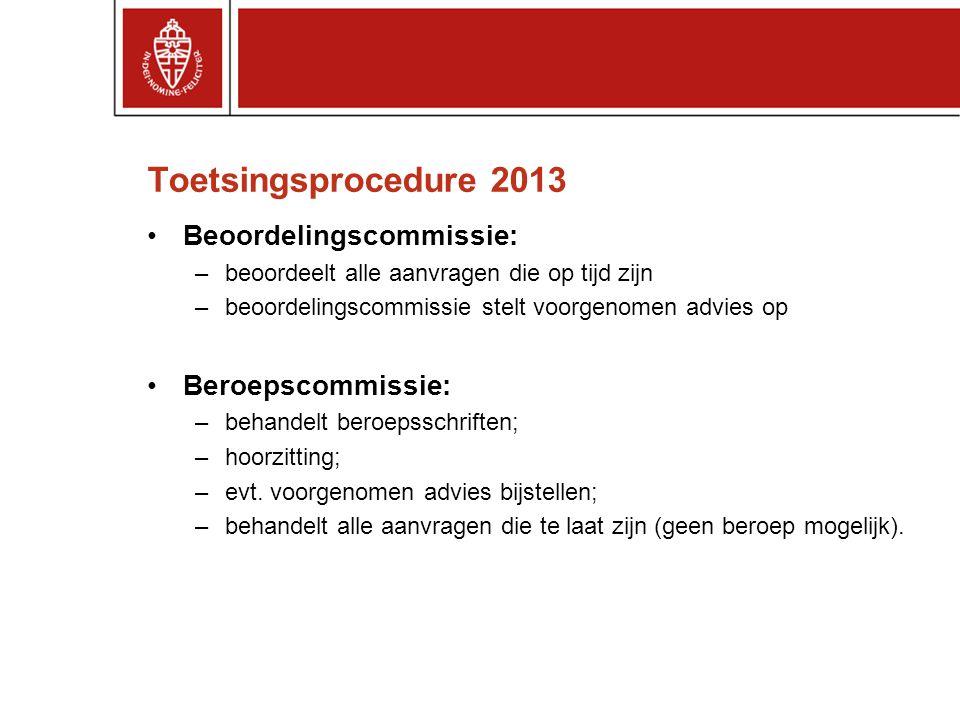 Toetsingsprocedure 2013 Beoordelingscommissie: Beroepscommissie: