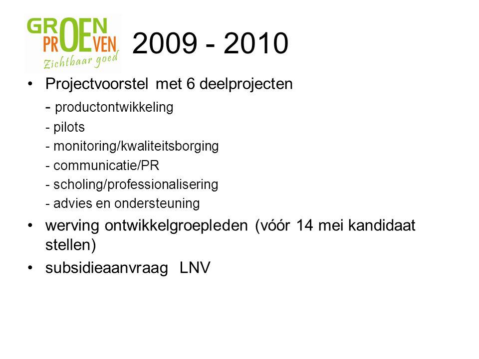 2009 - 2010 Projectvoorstel met 6 deelprojecten - productontwikkeling