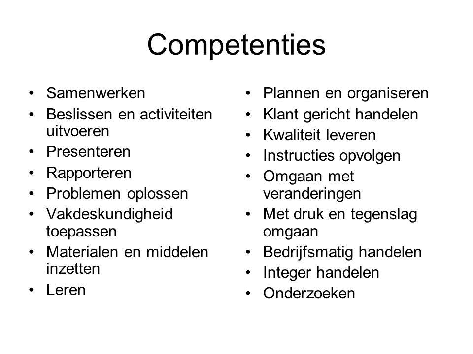 Competenties Samenwerken Beslissen en activiteiten uitvoeren
