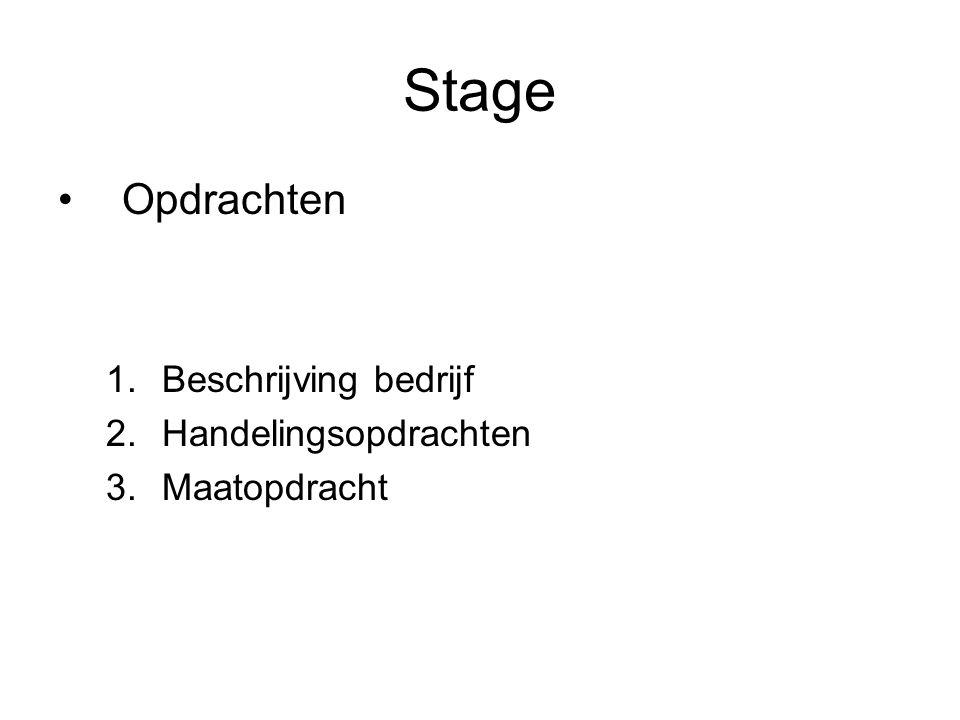 Stage Opdrachten Beschrijving bedrijf Handelingsopdrachten