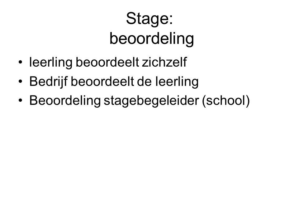 Stage: beoordeling leerling beoordeelt zichzelf